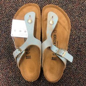 Birkenstock Shoes - {Birkenstock} Gizeh Blue Sparkle Sandals size 39